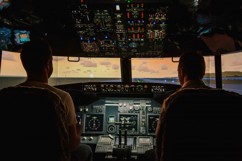 Sunset runway in the simulator
