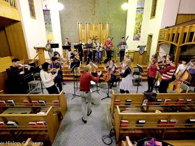 Canberra Sinfonia rehearsing at Wesley Uniting Church.