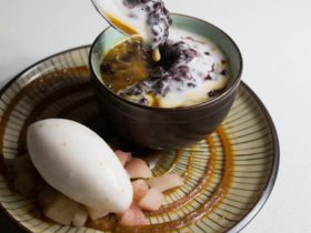 Black Rice Pudding w/ coconut cream, poached apple, lychee sorbet & butterscotch