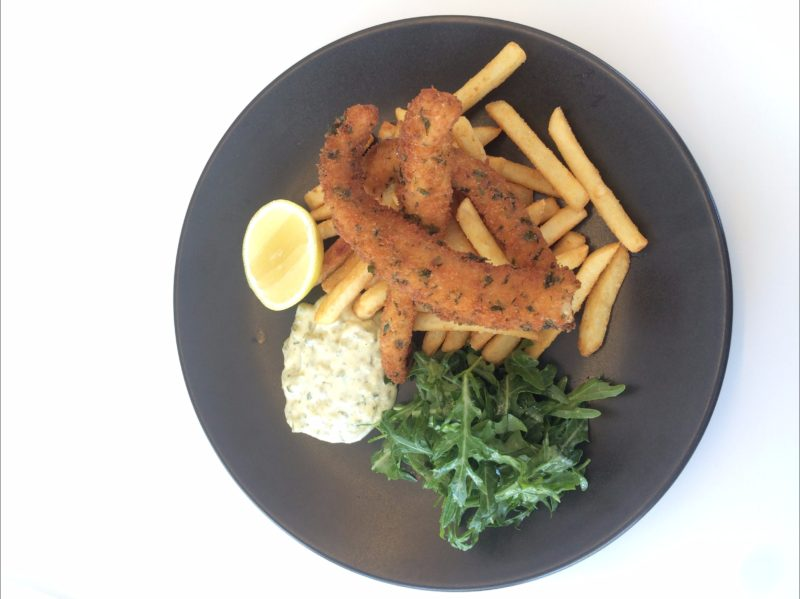 Gremolata -crumbed fish with hand-cut chips, tartare + lemon