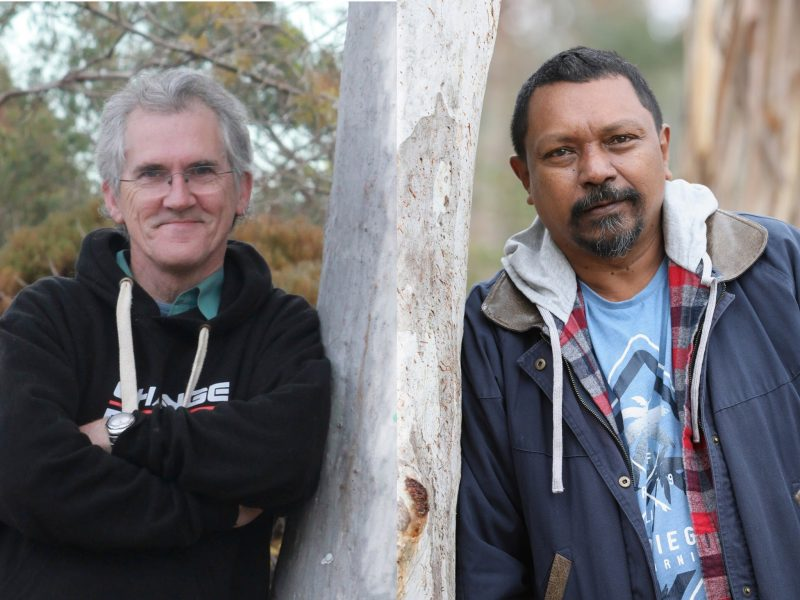Authors Craig Cormick (left) and Harold Ludwick (right) leaning on a tree.