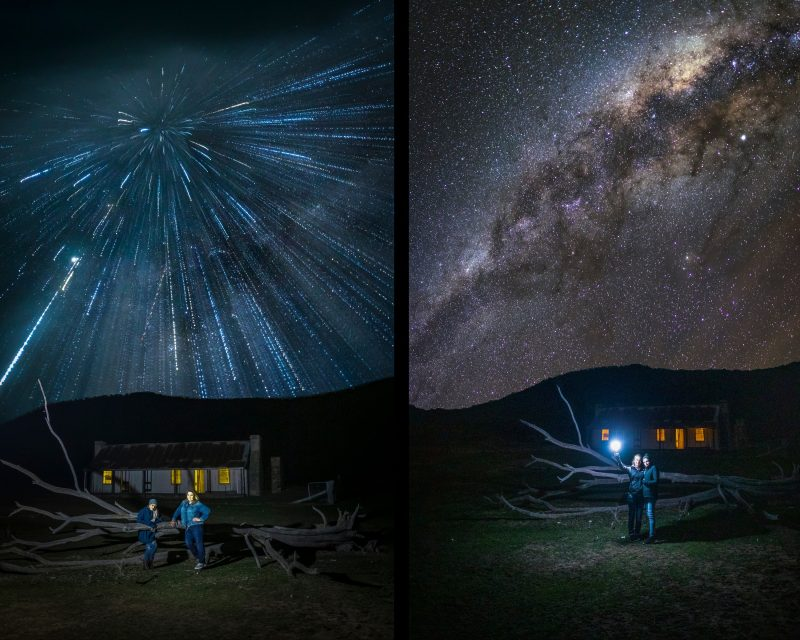 Milky Way explosion and exposure blending technique portraits.