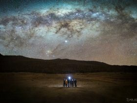 A portrait of a group of photographers with the Milky Way in background