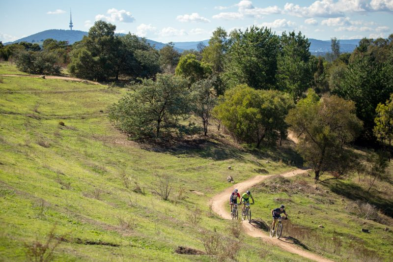 Mountain bikers in Canberra.