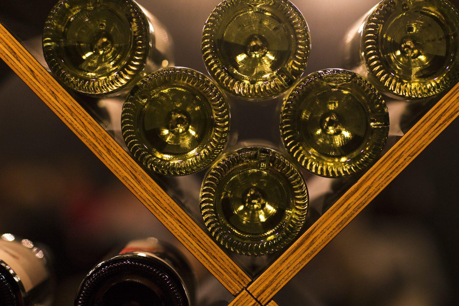 Wine bottles in a wine rack