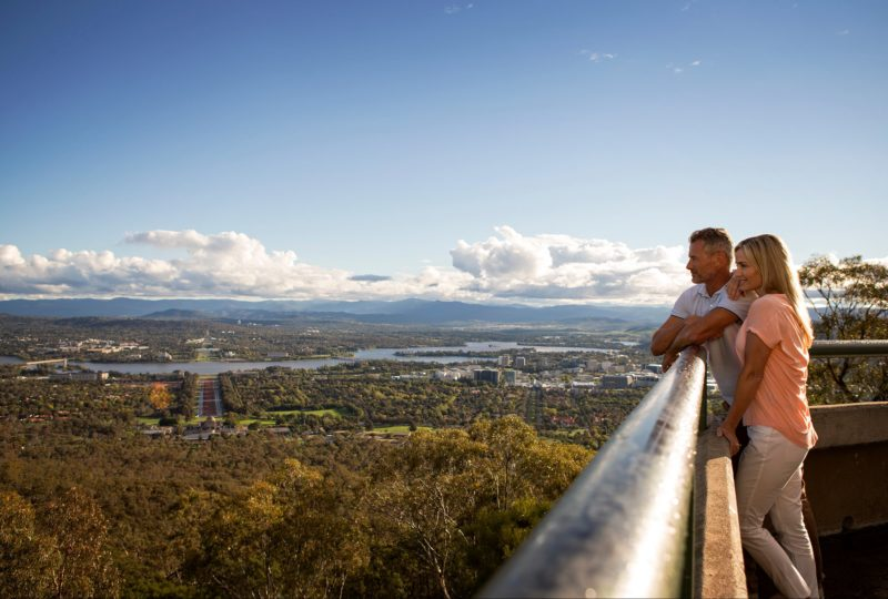 Couple looking out over Canberra from the lookout