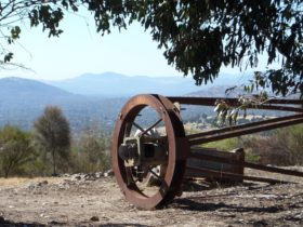 Observatory relic looking over the Brindabella hills
