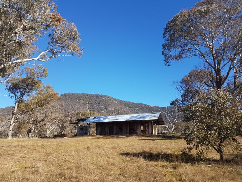 Interpretive shelter with Mt Tennent in the background