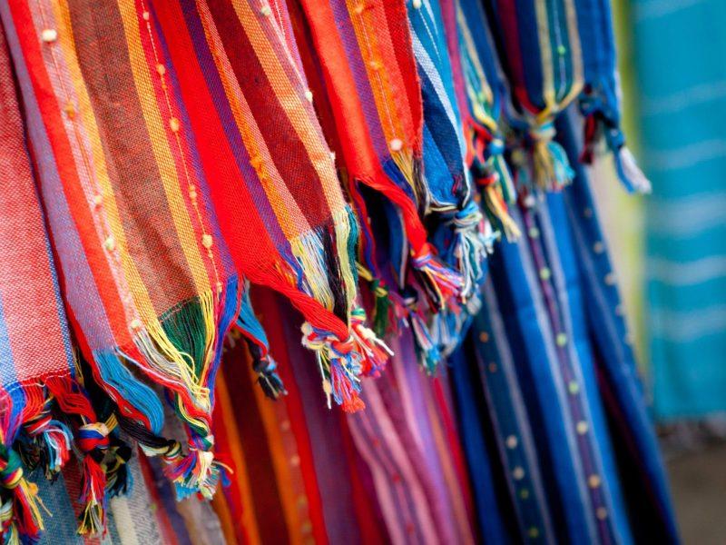 Colourful Fabrics at Old Bus Depot Markets