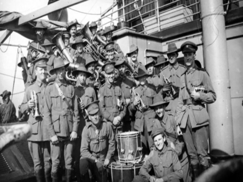 The band on board the transport SS Marathon, c. 1917. (C01021)