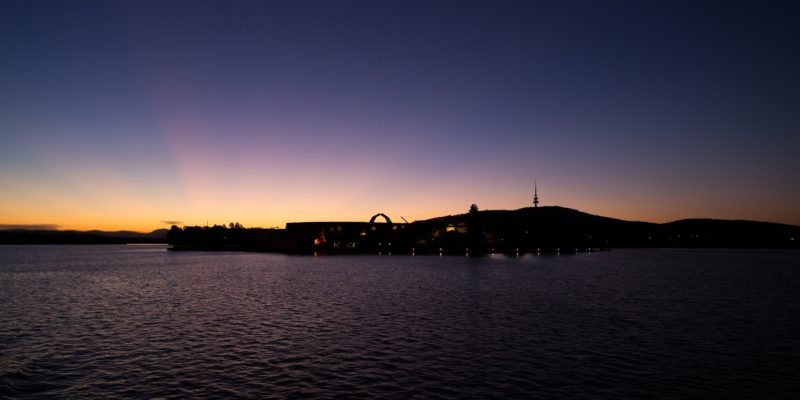 Lake Burley Griffin at sunset from aboard the MV Southern Cross