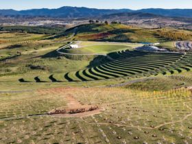 Aerial view of the National Arboretum Canberra