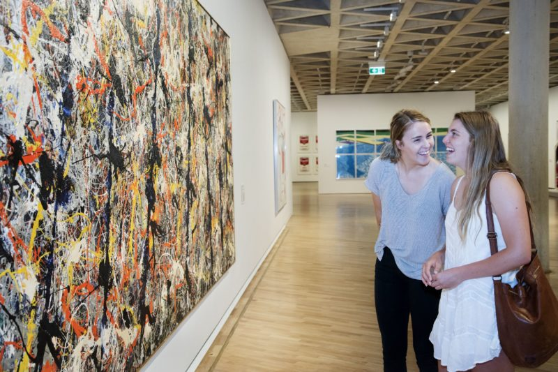 Women looking at art in the National Gallery of Australia, 2015