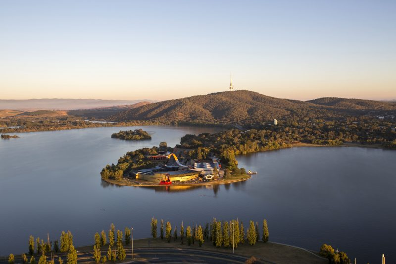 An aerial view of the National Museum of Australia, Canberra.
