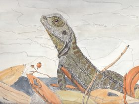 Water colour painting of a water dragon