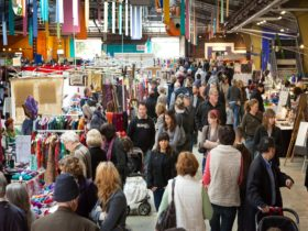The hustle and bustle of visitors of stallholders at the Old Bus Depot Markets