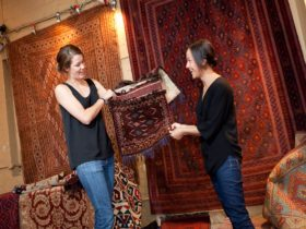 Collection of rugs at Old Bus Depot Markets