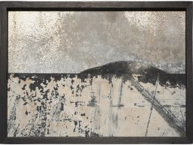 Landscape 11 – recycled painted galvanised steel, form ply, cement residue, 24 x 33cm