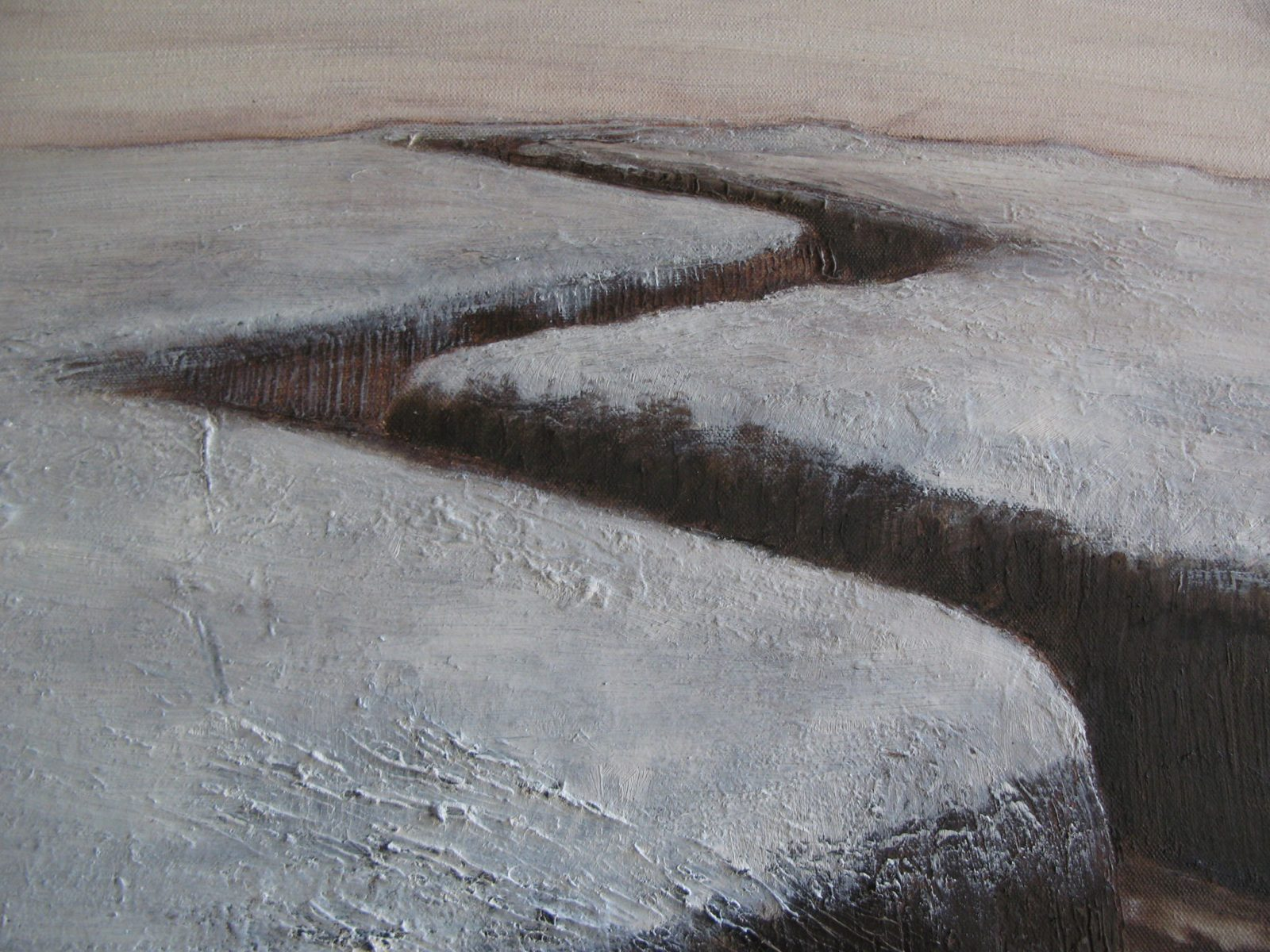 Murray Kirkland, Trench, 2018, oil on canvas, (detail).