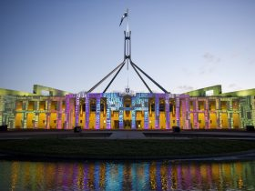 Image showing lighting projections on the front of Parliament House