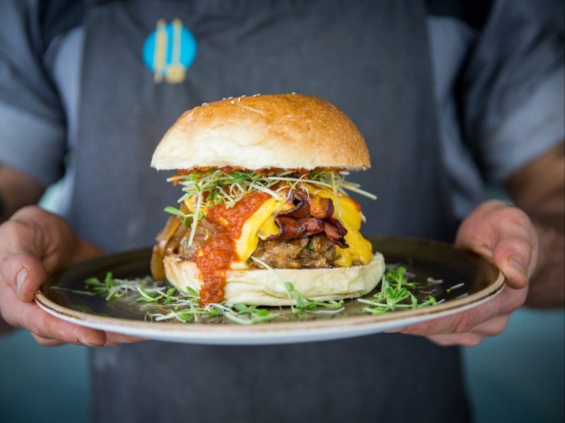 Giant burger on a plate