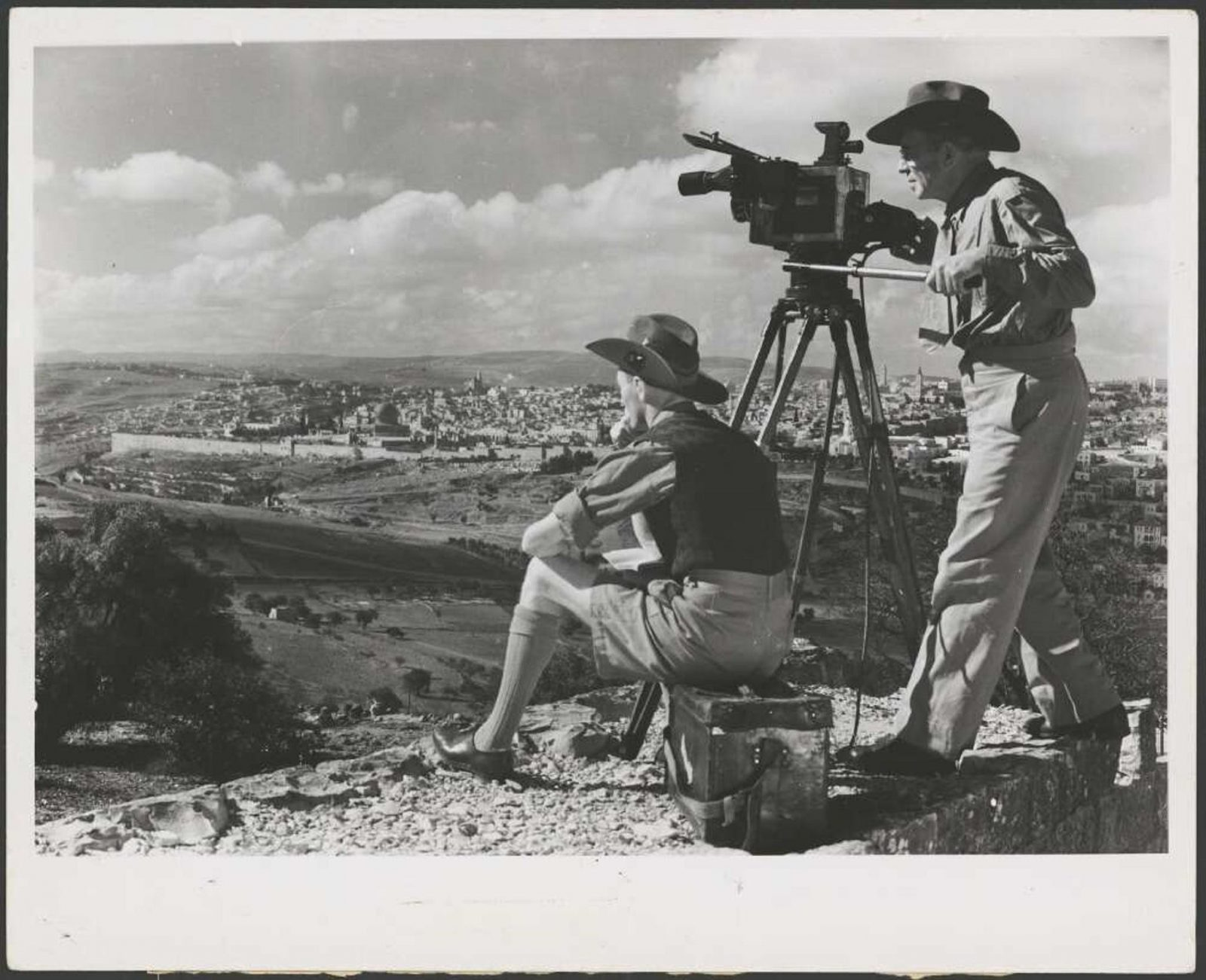 Frank Hurley and Maslyn Williams looking out over the Kidron Valley