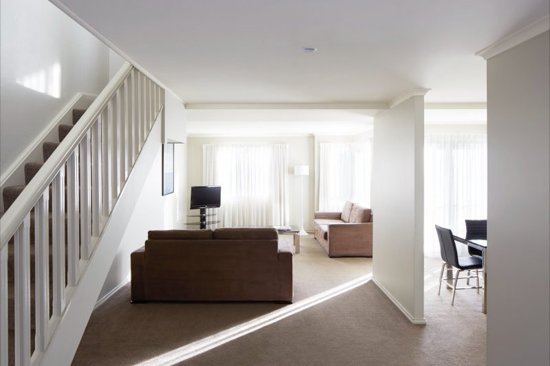 Lower level of a two storey apartment