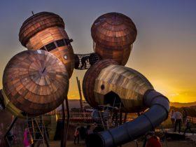 Pod Playground at dusk