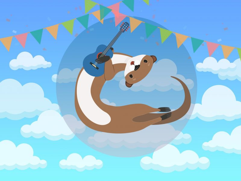 Weasel holding a guitar under bunting and blue sky with clouds