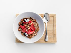 Homemade Granola with Poached Pears and Rhubarb