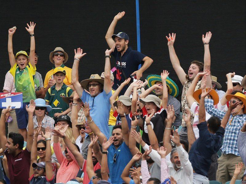 Cricket crowd enjoying themselves