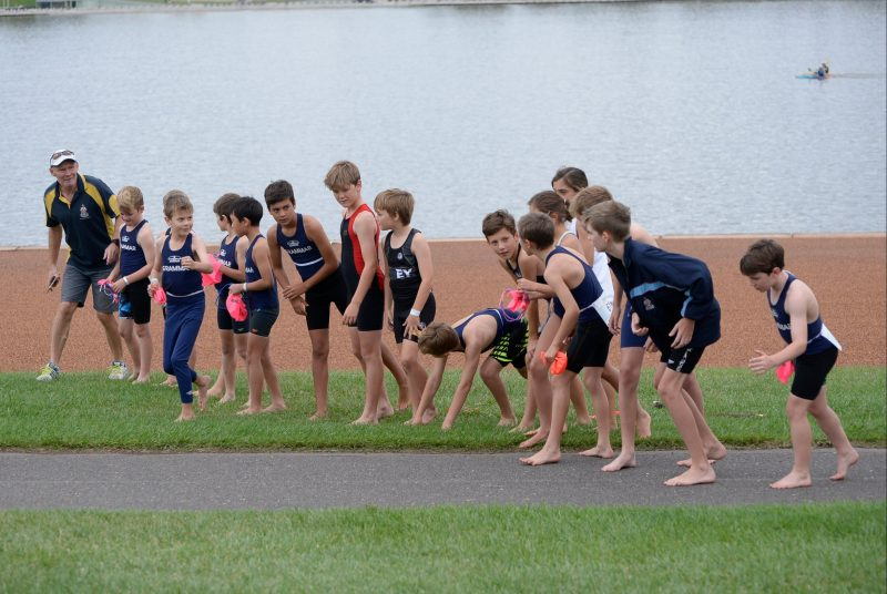 Children in a line before the start of a race