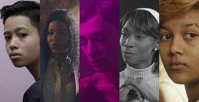 A collage of five different transgender people from the short films featured in the package