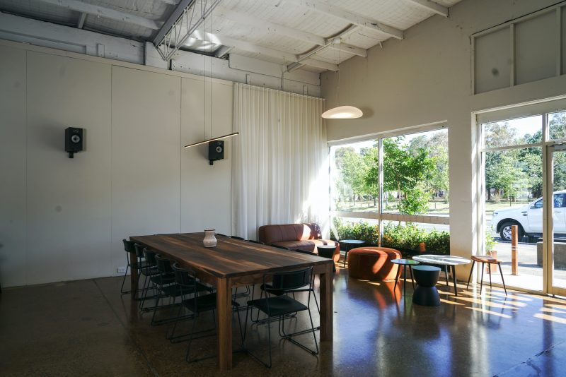 Communal table and lounge area