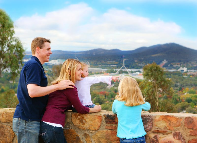 Family looking over Canberra from Red Hill Lookout