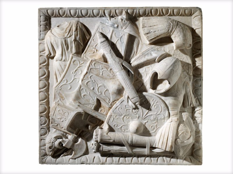 Marble relief panel decorated with Roman and Dacian armour