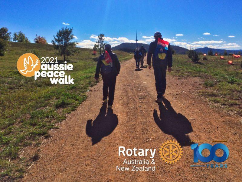 Walkers head toward Black Mountain in the Aussie Peace Walk
