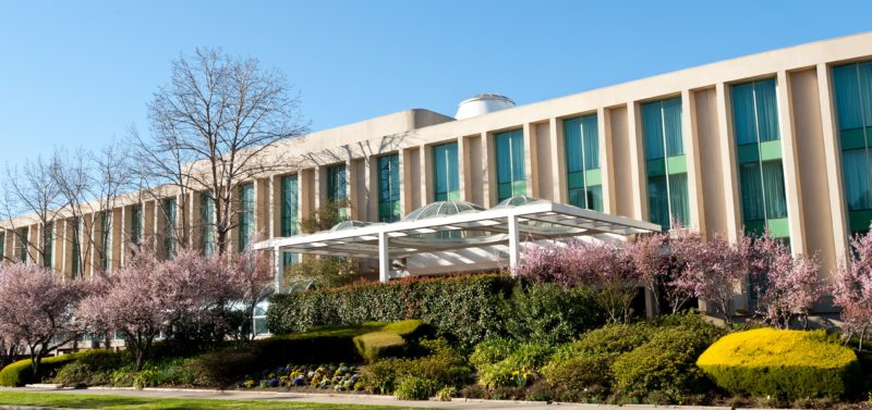 Hotel exterior during Spring