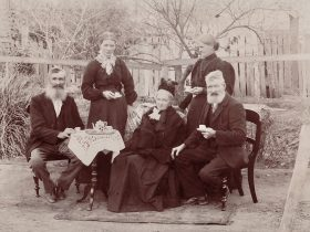 "Five of the children of Robert and Mary Hatch, 1888. William Hatch (L) established ""Rosewood'."