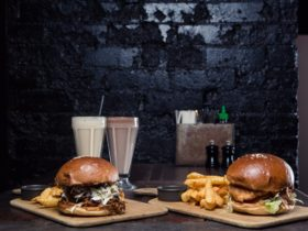 Burgers, fries and milkshakes