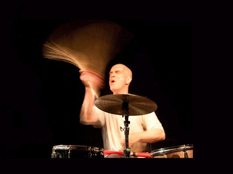 Drummer Roger Turner in full flight