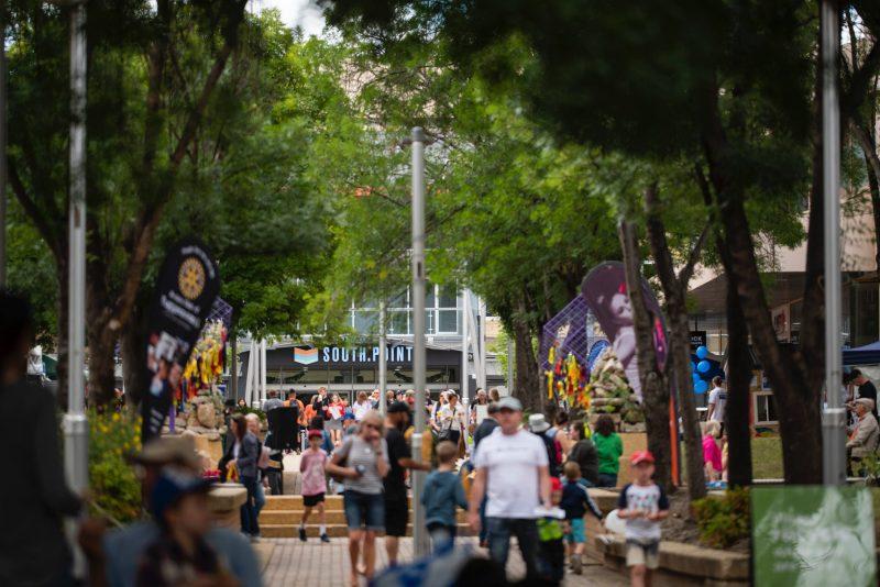 Image of crowds walking through the Tuggeranong Town Centre Laneways