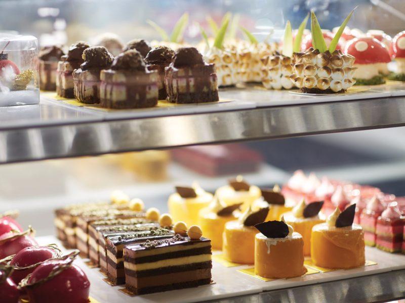 Display cabinet of elaborate sweet treats