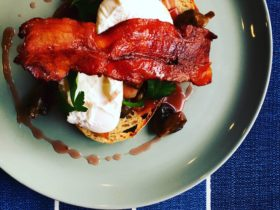 Toast, a poached egg and bacon.