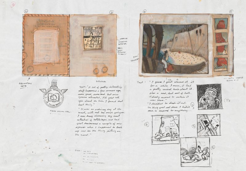 Shaun Tan, Page Layout Sketches with Draft Text of The Lost Thing, 1999