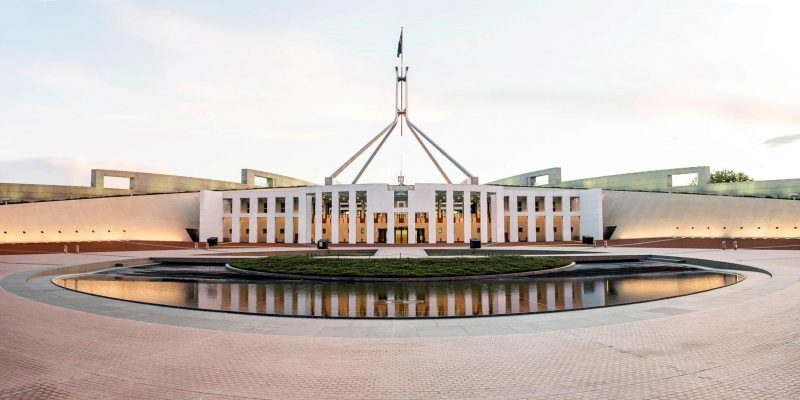 The front of Australian Parliament House