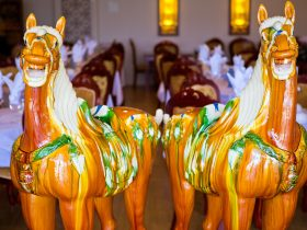 Tang Dynasty's life size tri coloured pottery horse