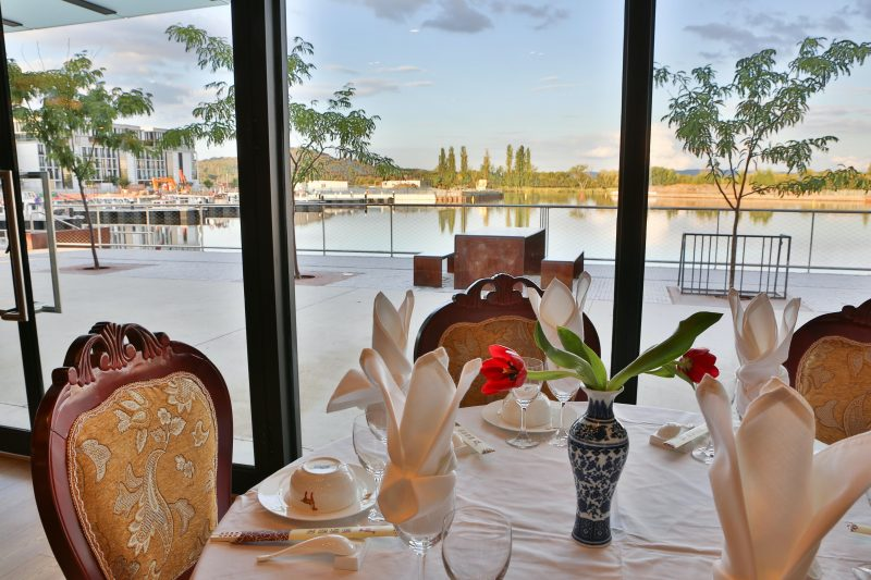 view of lake from inside restaurant