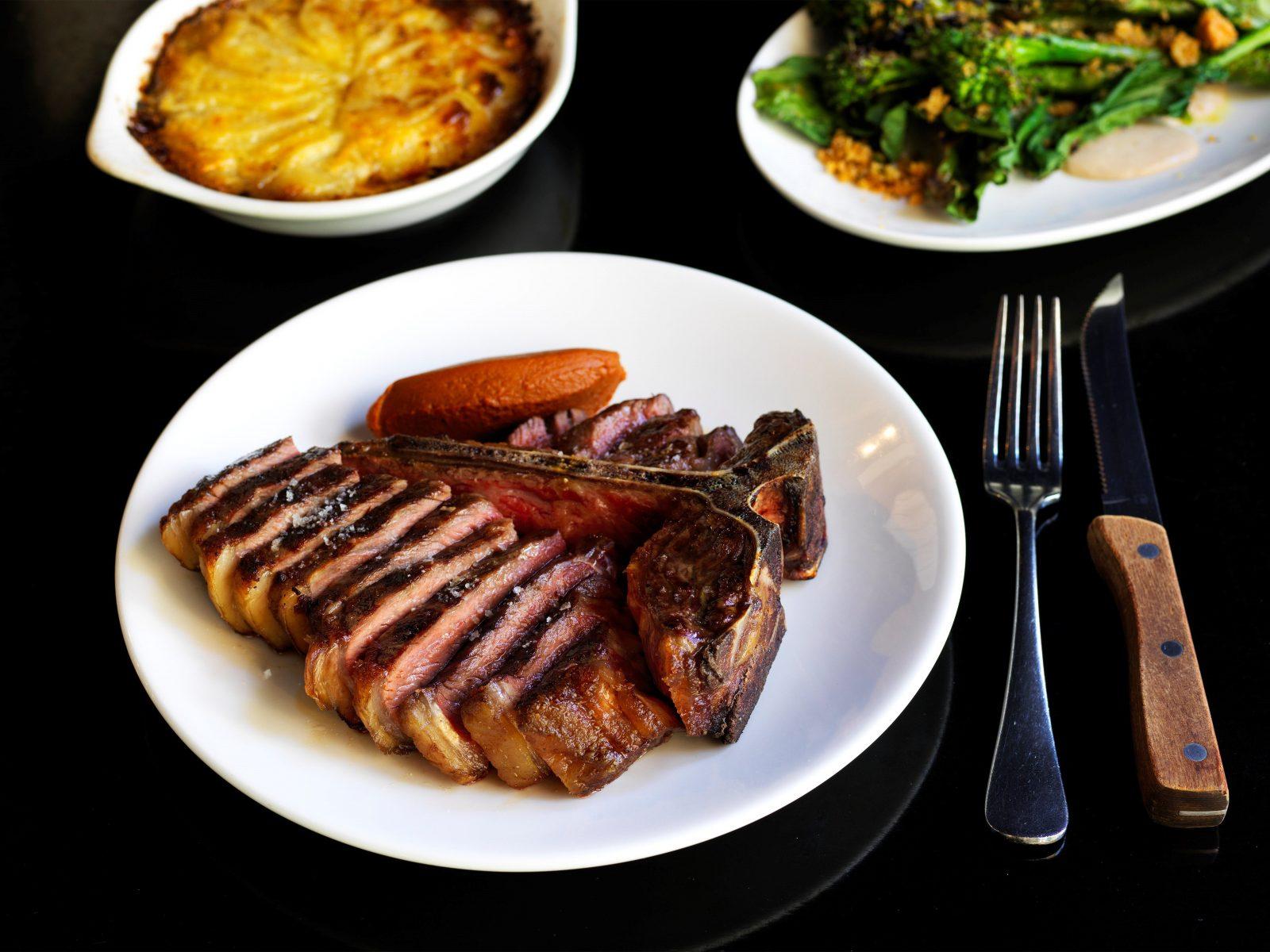 Wood Grilled T-Bone, Broccolini, Potato Gratin