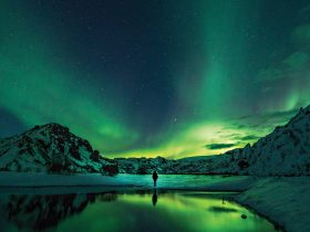 A figure stands in the Antarctic landscape with the Southern Lights in the sky